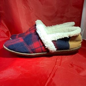 Toms Red Buffalo Plaid Sherpa Lined Slippers